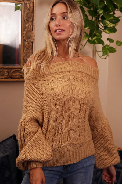 Off Shoulder Puff Sleeve Knit Sweater (Camel)