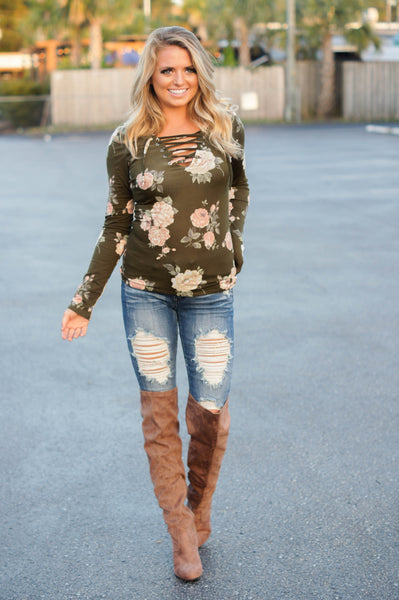 Floral Lace Up Top (Olive)