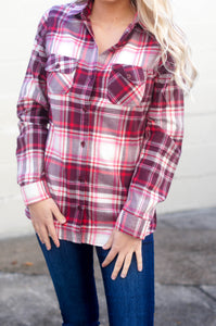 Warm Welcome Flannel (Red/Burgundy)