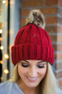 Let It Snow Beanie (Burgundy)