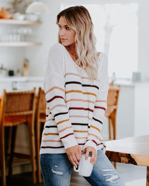 Stripped Obsessions Sweater (Ivory)