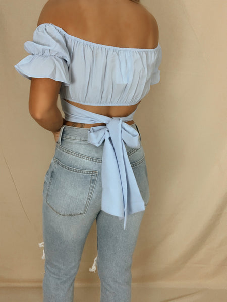 True Colors Tie Back Crop Top (Blue)