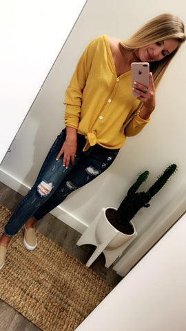Button Me Up Top (Mustard)