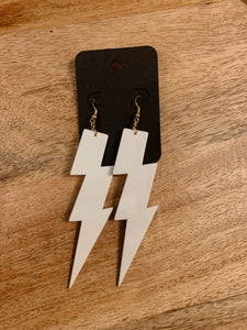 Lightning Bolt Earrings (White)