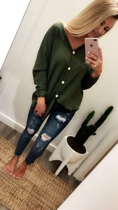 Button Me Up Top (Olive)