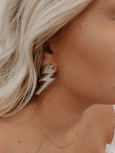 Lighting Bolt Earrings (Silver)