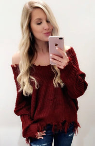 Don't Be A Frayed Sweater (Burgundy)
