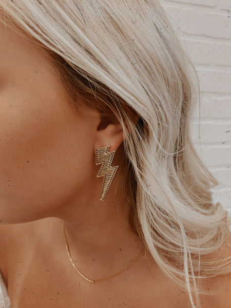 Electric Bolt Earrings (Gold)