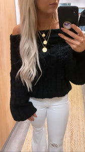 Off Shoulder Puff Sleeve Knit Sweater (Black)