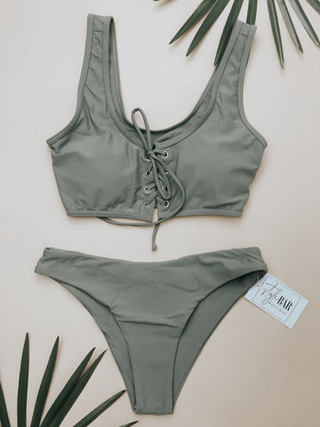 Always on Island Time Swimsuit Top (Olive)