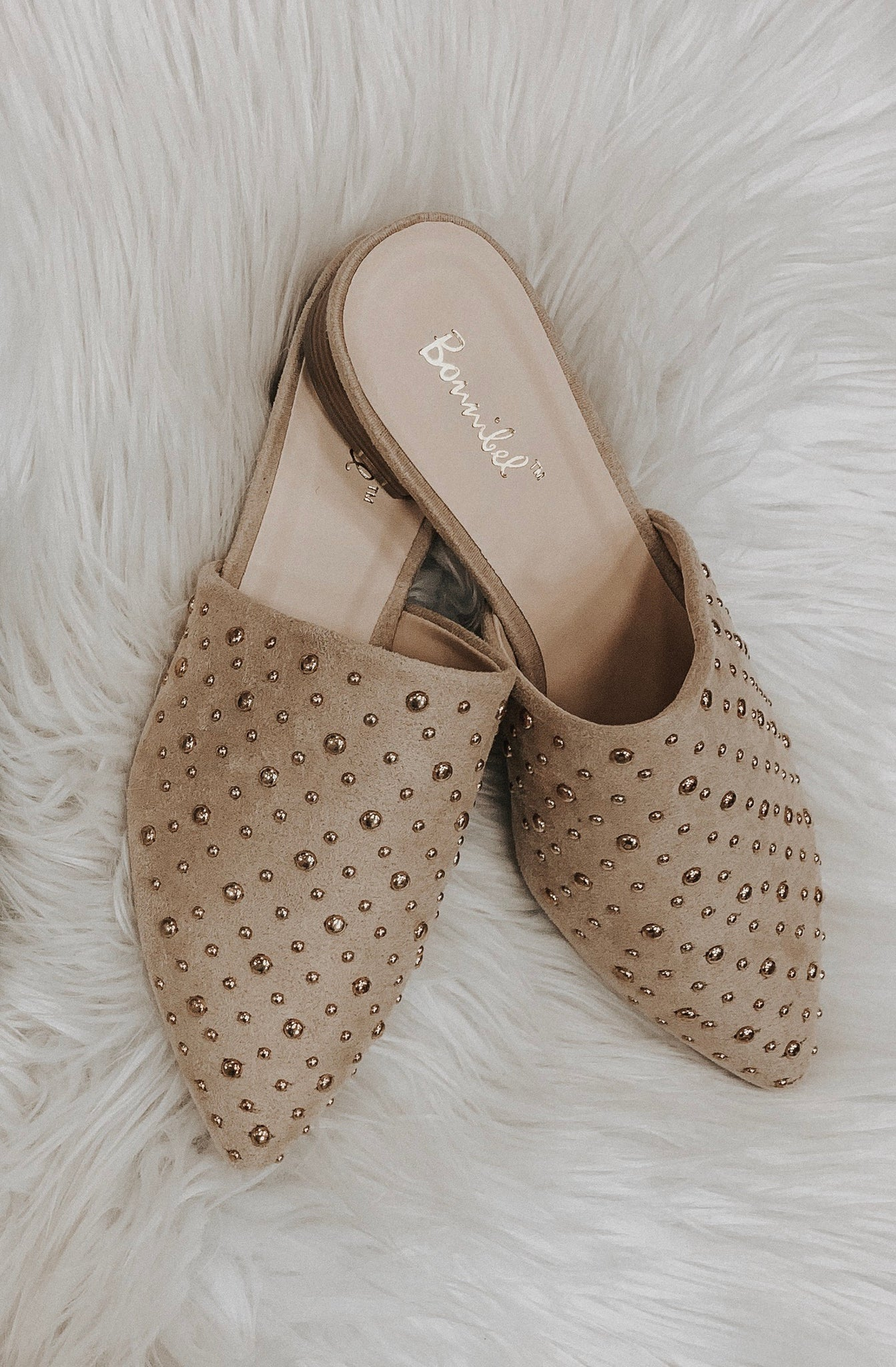 Remi Studded Mules (Nude)