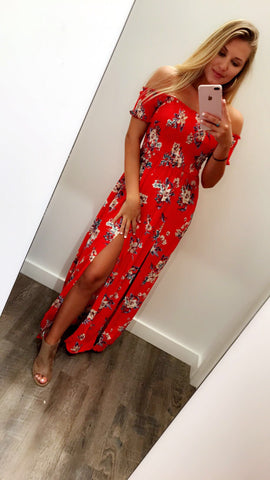 Ruby Red Floral Dress