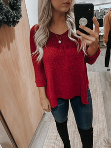 Harlow Knit Sweater (Burgundy)