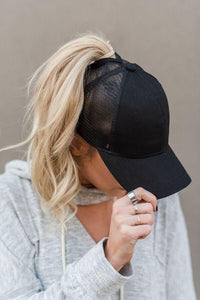 Messy Bun CC Hat (Black)