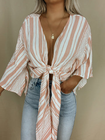 See You Soon Tie-Front Crop Top (Peach)