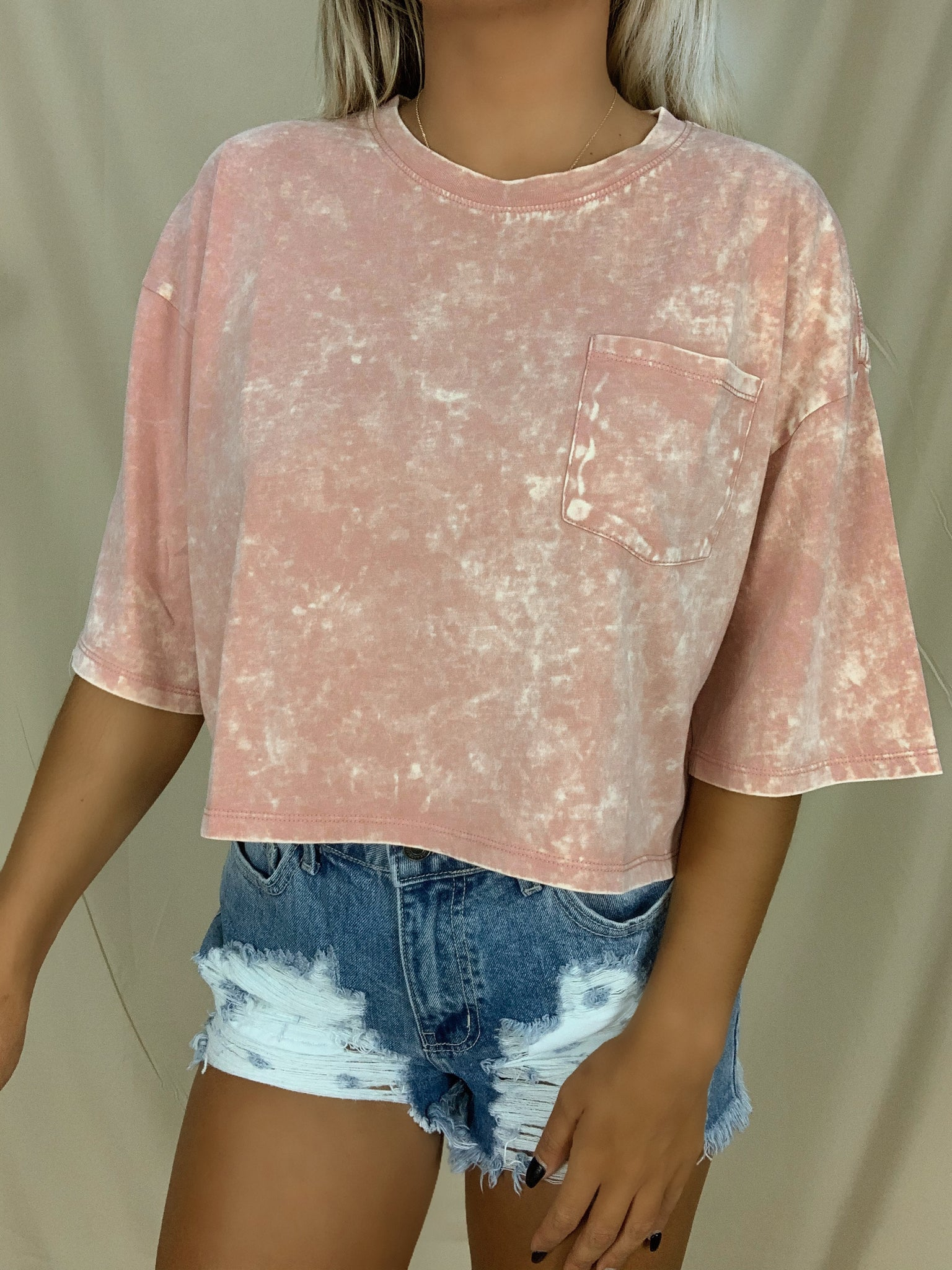 Mineral Washed Cropped Tee (Pink)