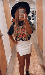 Harley Faux Leather Skirt (White)
