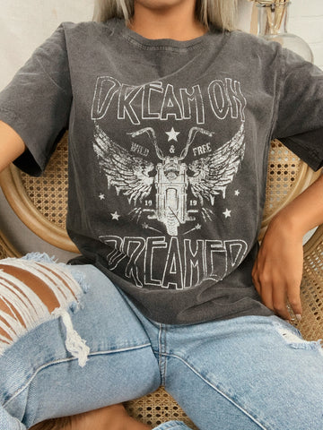 Dream On Dreamer Graphic Tee (Black)