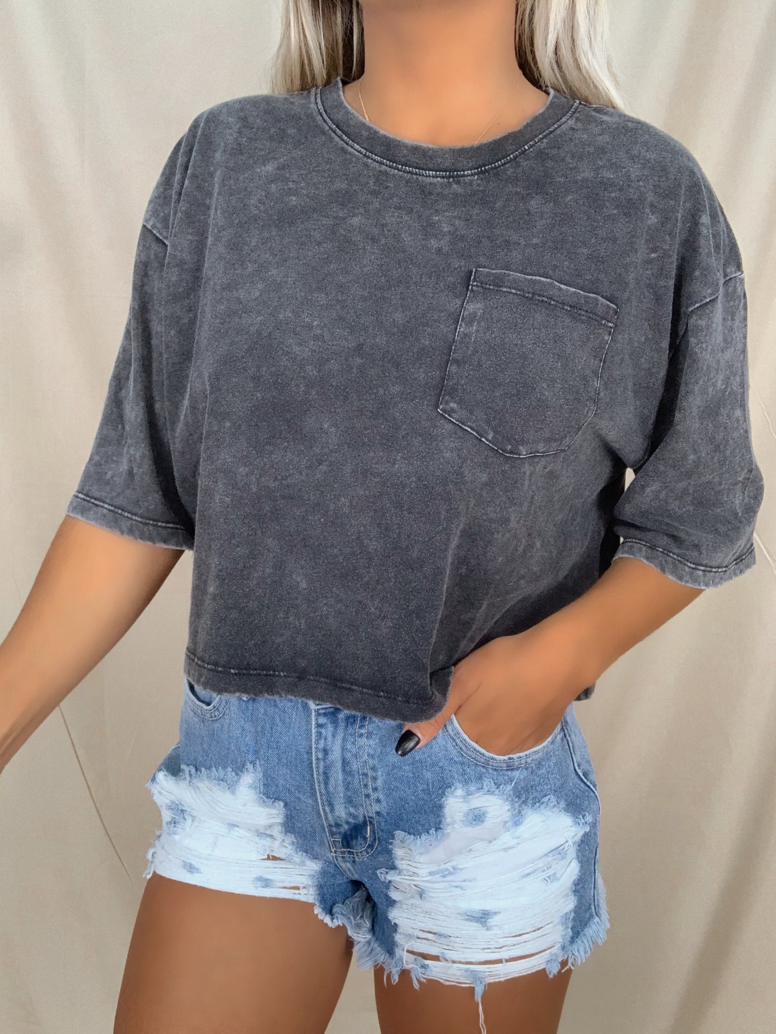 Mineral Washed Cropped Tee (Black)