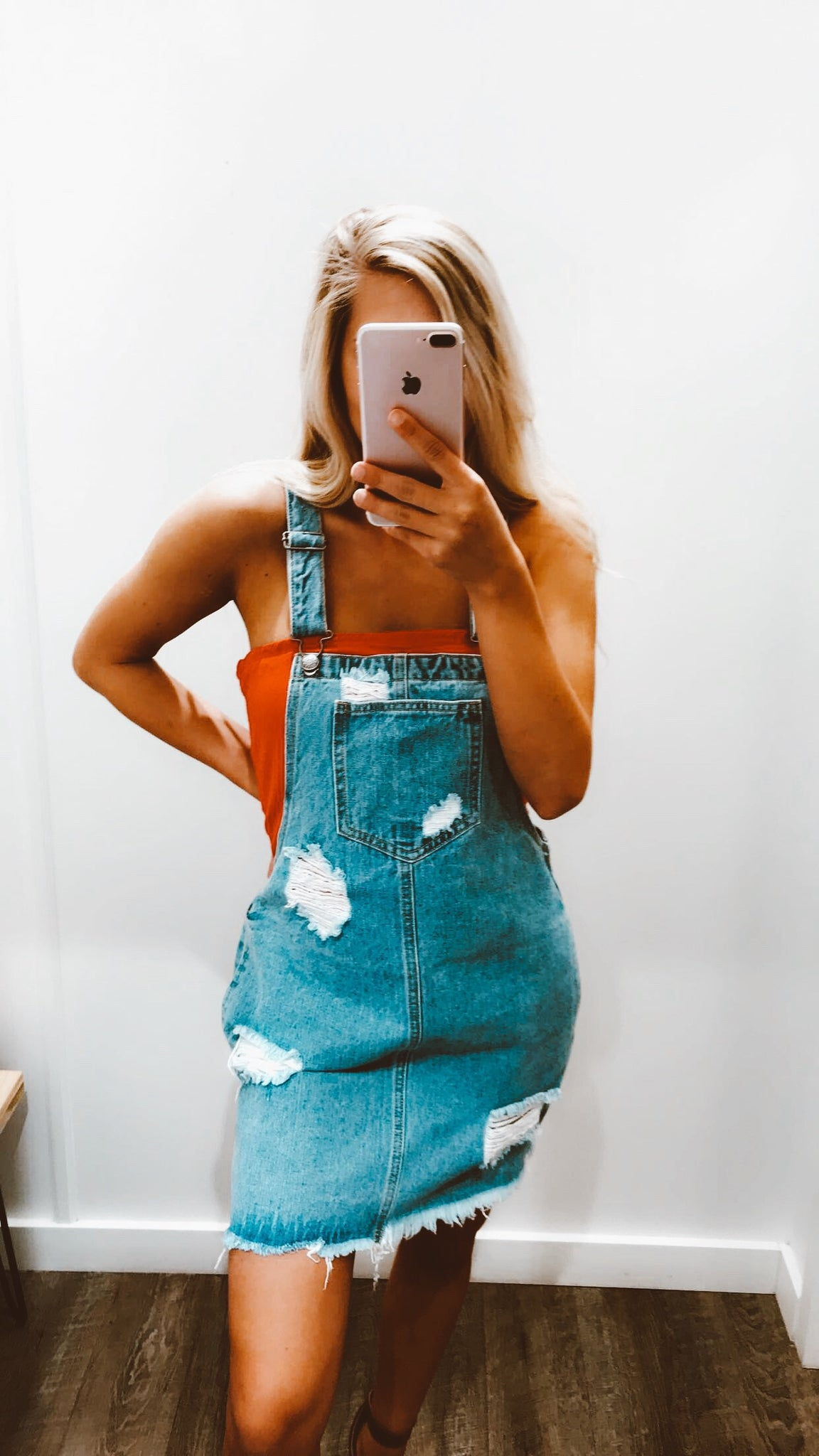 Extended Weekend Denim Overalls Dress