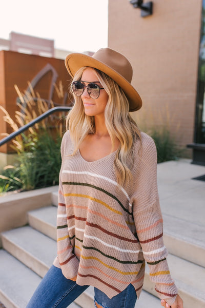 Stripped Obsessions Sweater (Taupe)