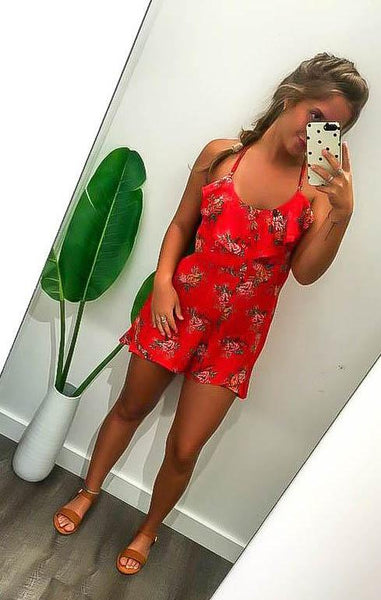 See You There Floral Romper (Red)