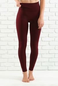 Tummy Control Leggings (Burgundy)