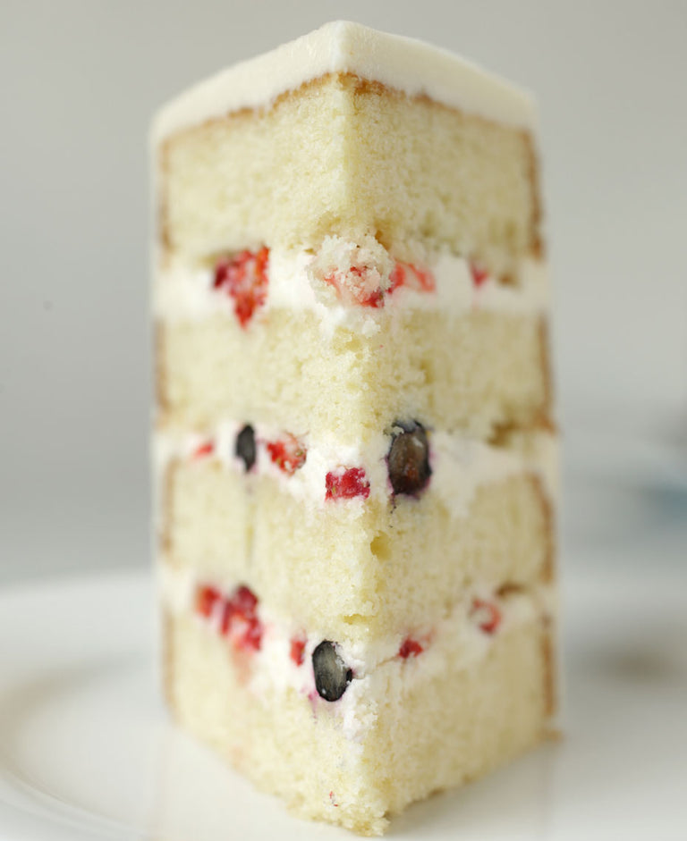 Sour Cream Cake with Berries and Cream Cheese Buttercream