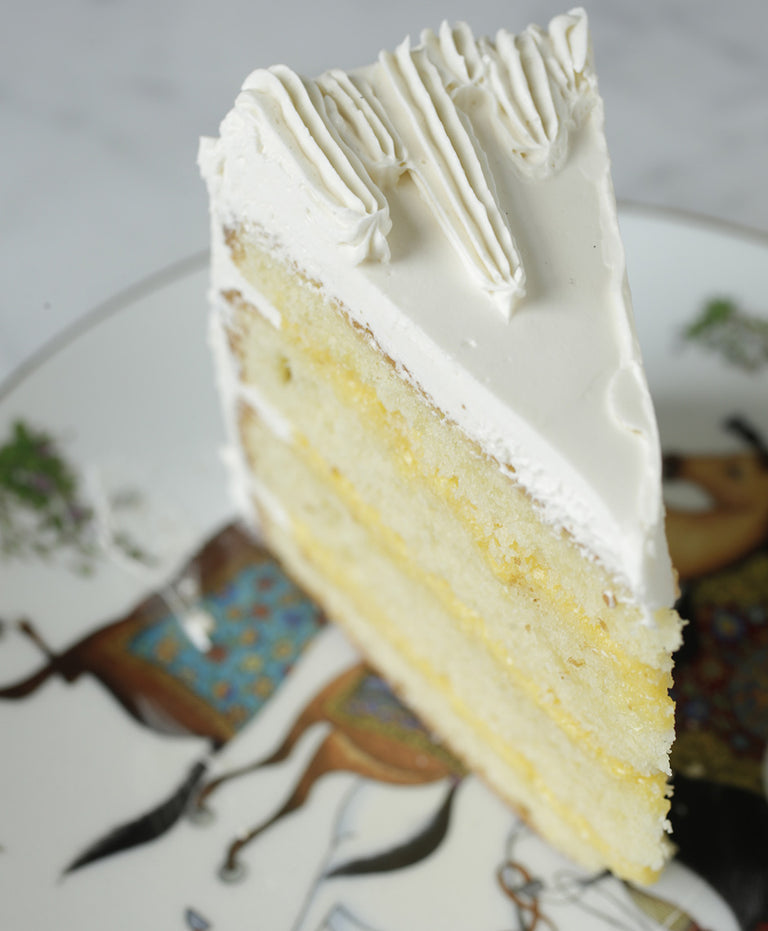 Lemon Chiffon Cake with Vanilla Meringue Buttercream