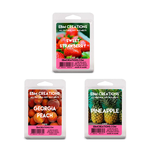 3 Pack Fresh Fruit Bundle  - Scented All Natural Soy Wax Melts - 6 Cube Clamshells 3.2oz
