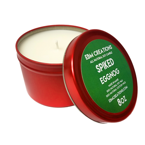 Spiked Eggnog - 8oz Holiday Tin All Natural Soy Candle