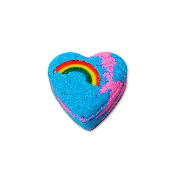 RTS - Sweet Rainbow Heart Bath Bomb - All Natural 2.5oz