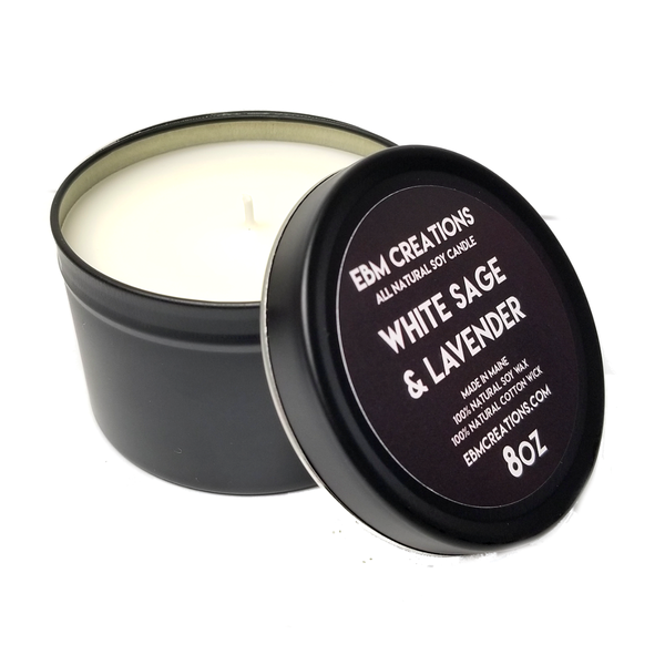 White Sage & Lavender - 8oz Black Tin All Natural Soy Candle