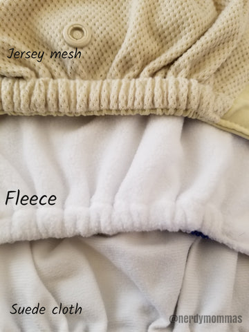 diaper linnings suede cloth, fleece, and jersey mesh