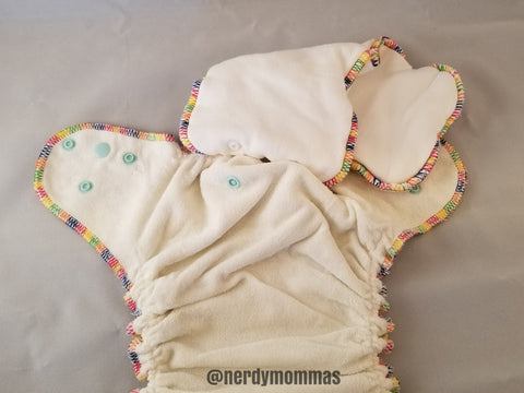 "flatlay photo of a ""hybrid/AI2"" cloth diaper. removeable insert attaches to waterproofed cover via snaps"