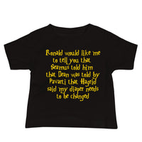 baby sized black short with short sleeves. Yellow writing in a harry potter themed font.