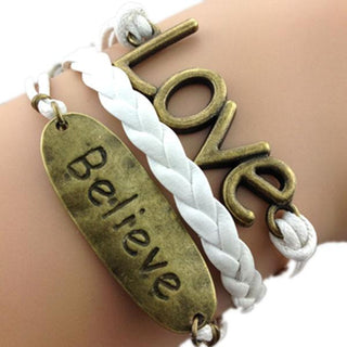 Believe and Love White Bracelet