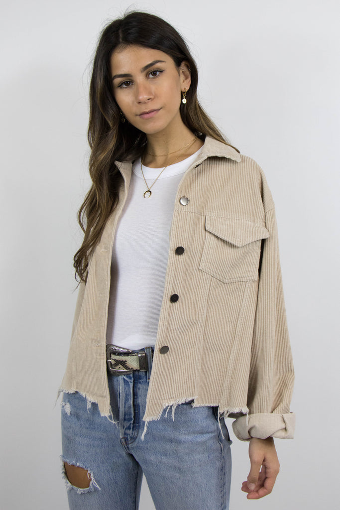 Grey Bandit's beige Raelyn corduroy distressed hem Jacket