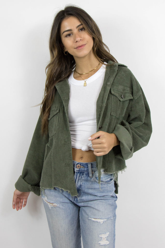 Grey Bandit's olive green Raelyn corduroy distressed hem Jacket
