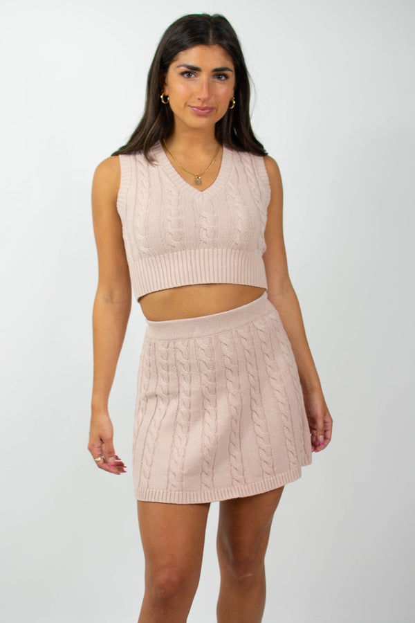 Vana Cable Knit Skirt