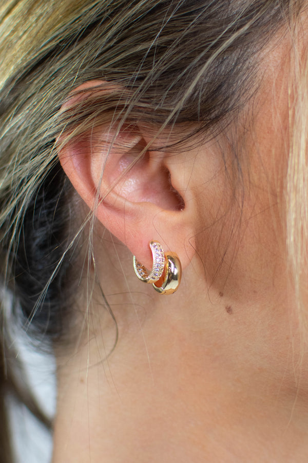 Pave Gold Baby Hoops