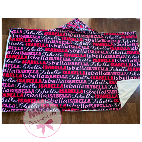 All over name hooded blanket (custom available)