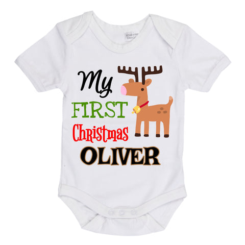 Boys deer handmade custom first Christmas onesie