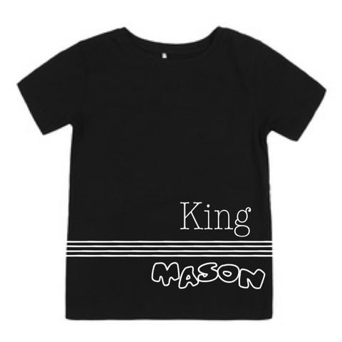 King handmade custom name top / onesie