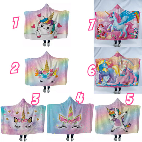 Unicorn theme hooded blankets (custom available)