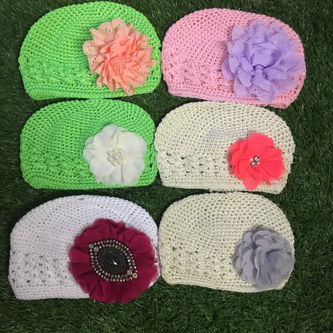 Assorted crochet flower beanies - On sale