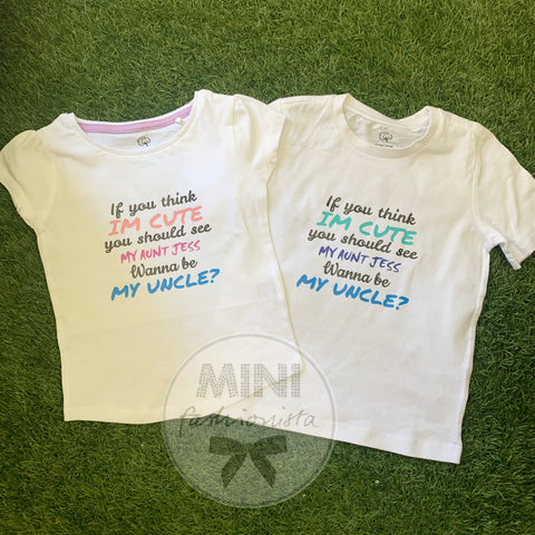 Auntie / Wanna be my uncle onesies / tops