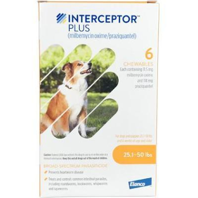 Interceptor Plus Chewable Tablets for Dogs, 25.1-50 lbs