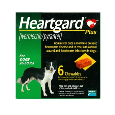 Heartgard Plus Chewable Tablets for Dogs, 26-50 lbs