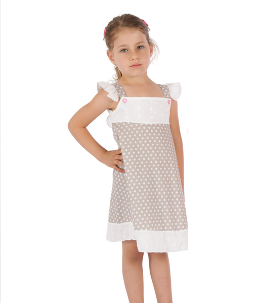 Grey polka dot rustic dress